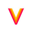 logo letter v red glowing vector image