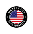 made in usa 100 percent american quality flag icon vector image vector image
