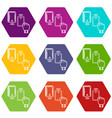 magnetic lock icons set 9 vector image vector image
