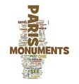 monuments of paris text background word cloud vector image vector image