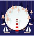 ocean night sea adventure poster seagull vector image vector image