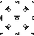 one gear pattern seamless black vector image vector image