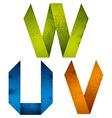 Origami alphabet letters U V W vector image vector image