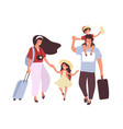 people are traveling with children and luggage vector image