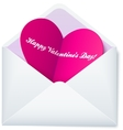 Pink folded heart in white paper envelope vector image vector image
