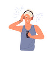 portrait hipster teenager listening to music vector image