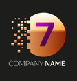 purple number seven logo in golden pixel circle vector image