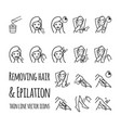 removing hair by using sugaring or strip wax vector image vector image