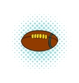 Rugby ball icon comics style vector image vector image