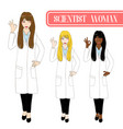 scientist woman showing ok hand sign vector image vector image