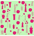 seamless pattern of houses and flowers vector image vector image