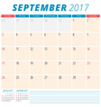 September 2017 Calendar Planner for 2017 Year Week vector image vector image