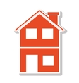 silhouette with orange house of two floors vector image vector image
