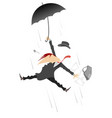 storm or hurricane and man flies with umbrella vector image vector image