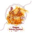 subhadra tying rakhi to krishna on raksha bandhan vector image vector image