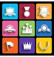 Trophy and awards icons set in flat style vector image vector image
