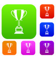 trophy cup set collection vector image vector image