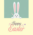 white rabbit with happy easter sign vector image vector image