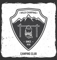 wild camping badge vector image vector image
