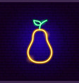 yellow pear neon sign vector image