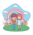 young couple outdoors nighttime landscape cartoon vector image vector image
