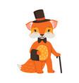 cute orange fox gentleman character funny cartoon vector image