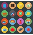 Market flat icons set vector image