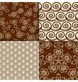 Brown and white sakura flowers pattern set vector image
