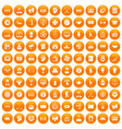 100 totalizator icons set orange vector image vector image