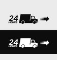 24 hours delivery truck icon vector image vector image