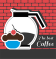 A jar of coffee with a blue cake with red cherry o vector image