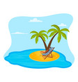 an island on it palm trees a deck vector image vector image