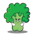 angry broccoli chracter cartoon style vector image vector image