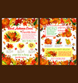 autumn fall time wishes posters vector image vector image