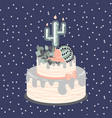 birthday cacti cake with candle and flowers vector image