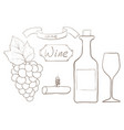 bottle wine set vector image vector image