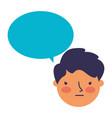 boy face sad speech bubble vector image vector image