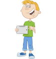 boy with tablet pc cartoon vector image vector image