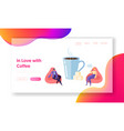 business character drink coffee on morning break vector image vector image