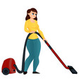 cartoon girl with a vacuum cleaner vector image vector image