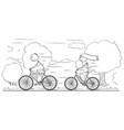 cartoon man and woman or girl and boy riding vector image
