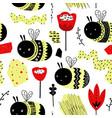 childish seamless pattern with cute bumblebee vector image vector image