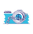 coin and chain with financial technology security vector image