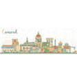 concord new hampshire city skyline with color vector image