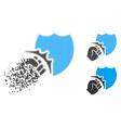 disintegrating dot halftone fist strike shield vector image