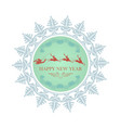 emblem with a snowflake with santa claus on vector image