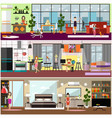 family characters at home flat poster set vector image
