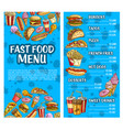 fast food burger and drink menu sketch banner set vector image vector image