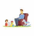 father and daughter - cartoon people characters vector image vector image