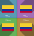 Flags Colombia Set of colors flat design and long vector image vector image